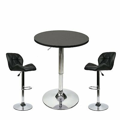 3 Piece Bar Stools Table Set Round Adjustable Counter Height Dining Chairs Pub