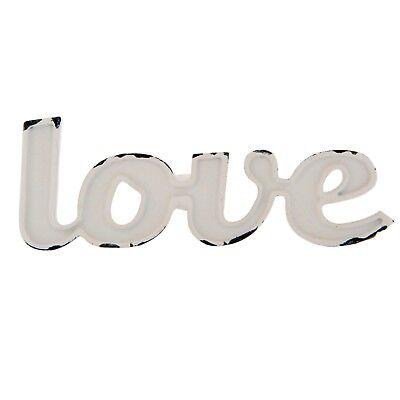 Möbelknopf 'LOVE' Form-Design 9x3cm Möbelgriff Metall weiß Cottage Shabby - Cottage Möbel
