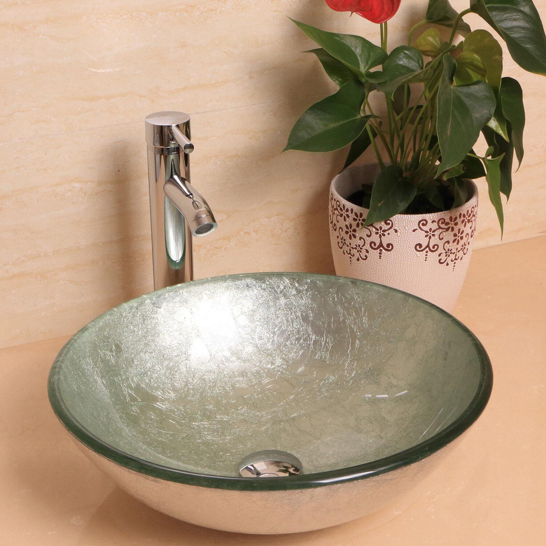 Bathroom Vessel Sink Drain Faucet Tempered Glass Vanity Comb