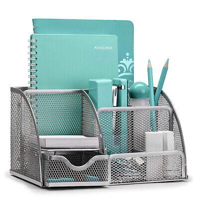 Silver Desk Organizer Mesh Metal Desktop Office Pen Holder Storage 6 Compartment