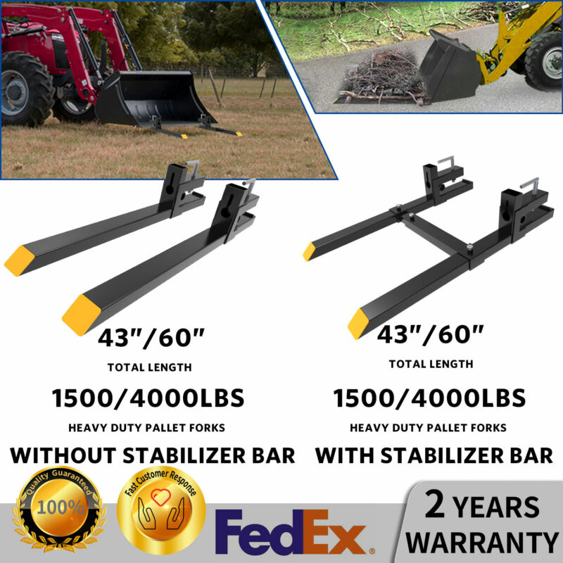 """4000lbs 60"""" Tractor Pallet Forks Skid Steer Loader Bucket Cl"""