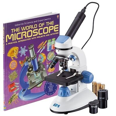 Amscope-kids M50c-b-wm-e Dual Illumination Microscope Blue With Camera Book