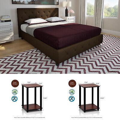 3 Piece Queen Size Bedroom Set Furniture Modern Platform Bed Nightstands Brown