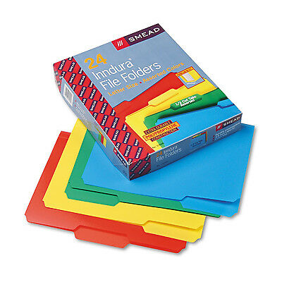 Smead 24pc Poly Plastic File Folders 13 Cut Top Tab Letter 4- Color Heavy Duty