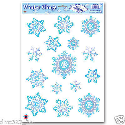 CHRISTMAS Winter or  FROZEN Party Decoration SNOWFLAKE WINDOW CLINGS Cling
