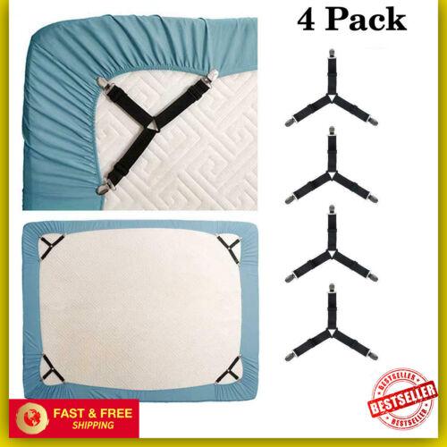 Bed Suspender Straps Mattress Cover Fastener Holder Triangle Gripper Sheet Clips