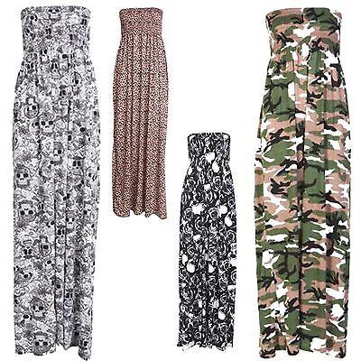 Neue Damen Plus Größe lange Sommer Bandeau-trägerloses Beisammensein Maxi 36-54 Plus Größe Maxi Kleider