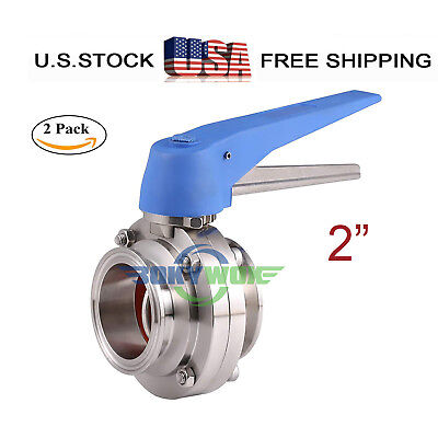 2 Sanitary Stainless 304 Tri-clamp Duck-billed Handle Butterfly Valve 2pack