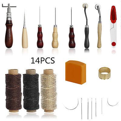 14tlg Leder Werkzeug Ledernadeln Stitching Lederhobel Sattler DIY Handwerk Set