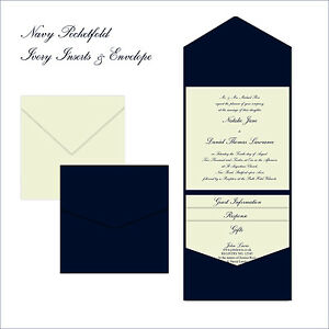 Sample printed navy pocketfold pocket fold wedding for Printed pocketfold wedding invitations