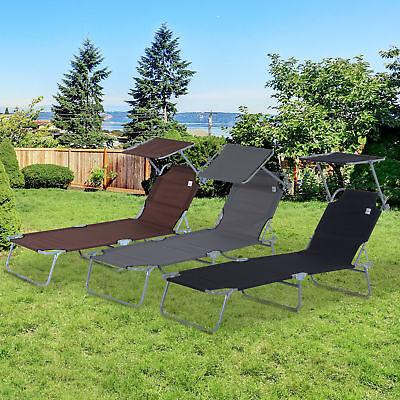 Outsunny Sonnenliege Gartenliege Strandliege klappbar mit Sonnenschutz 3 Farben