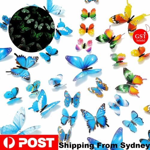Home Decoration - 12-36pcs Luminous Butterfly Design Decal Art Wall Stickers Room Home Decoration