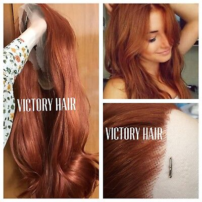 Ginger Copper Curly lace front wig. human Hair - Ginger Wig
