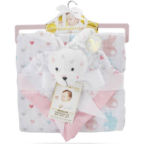 BANANAFISH Studio Muslin Snuggle Up 3 Piece Pink/White Bunny Blanket Gift Set