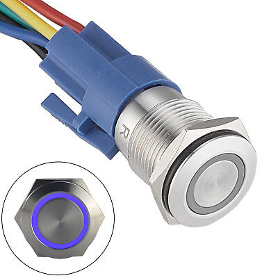 16mm Latching Push Button Switch 12v Dc On Off Stainless Steel Led Self-locking