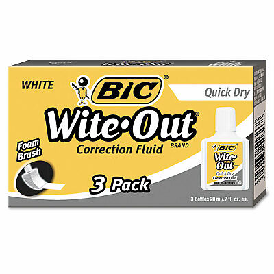 Bic Wite-out Quick Dry Correction Fluid 20 Ml Bottle White 3pack Wofqd324