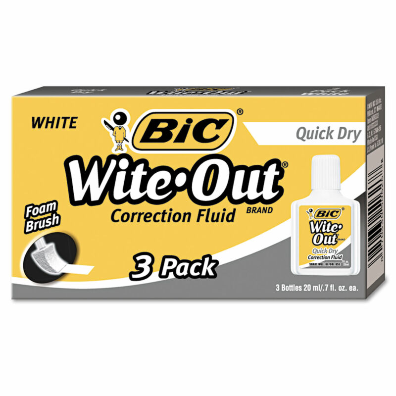 Bic Wite-Out Quick Dry Correction Fluid 20 ml Bottle White 3/Pack WOFQD324