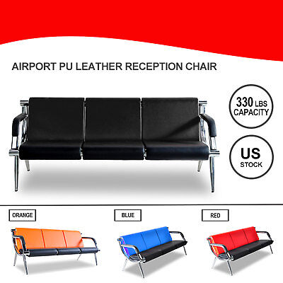Waiting Chair Office Airport Bench 3-seat Reception Pu Leather Guest Sofa Seat