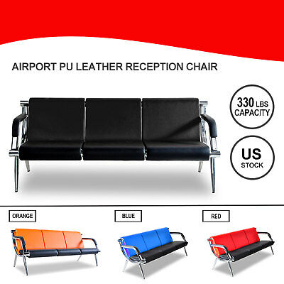 3-seat Waiting Chair Office Airport Bench Reception Pu Leather Guest Sofa Seat