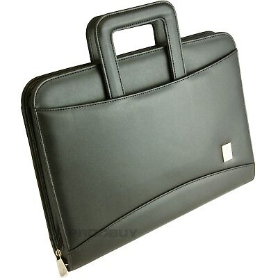 Large 4 Ring Binder A4 Briefcase Handles Faux Leather Zipped Conference Folder