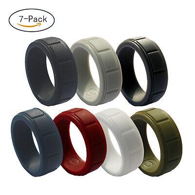 7pcs Silicone wedding ring Men Rubber band Set Gym Comfort Sport Work Flexible ()