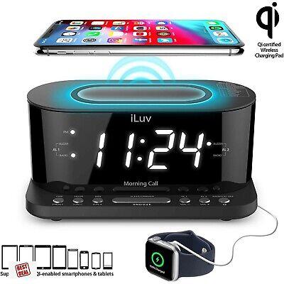 Iluv Wireless Charging Digital Alarm Clock With FM Radio And USB Charging Port