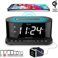 Iluv Wireless Charging Digital Alarm Clock With FM Radio And USB Charging Port