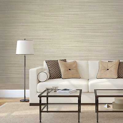 Wallpaper beige Textured Plain horizontal faux grasscloth lines wall coverings