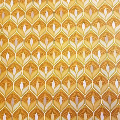Stoff Baumwolle beschichtet gelb senf 70er Jahre Muster abwaschbar Meterware