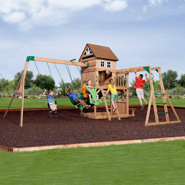 Wooden Swing Set Kids Backyard Play Set Cedar Slide Fort Mon
