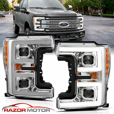 for 17-19 Ford F250 F350 XL XLT Pair Black Projector Headlights w/ LED Bar Tube