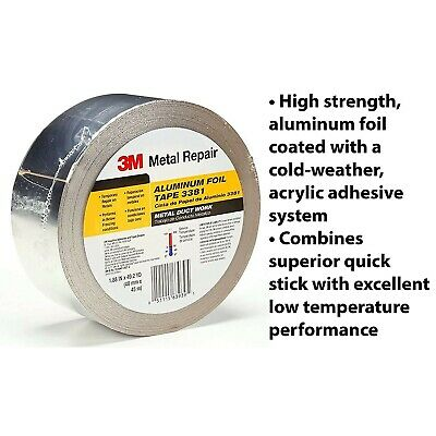 3m Aluminum Foil Tape Duct Self Adhesive Hvac Work 50 Yd 2.7 Mil Silver 1.88 In