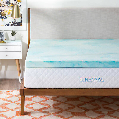 Contemporary Mattress - LINENSPA 2, 3, 4 Inch Gel Swirl Memory Foam Mattress Topper - Out of Package OOP