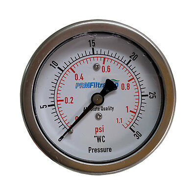 Prm 0-30 Wc 0-1 Psi Pressure Gauge 2.5 Ss Case 14 Inch Npt Brass Back Nib
