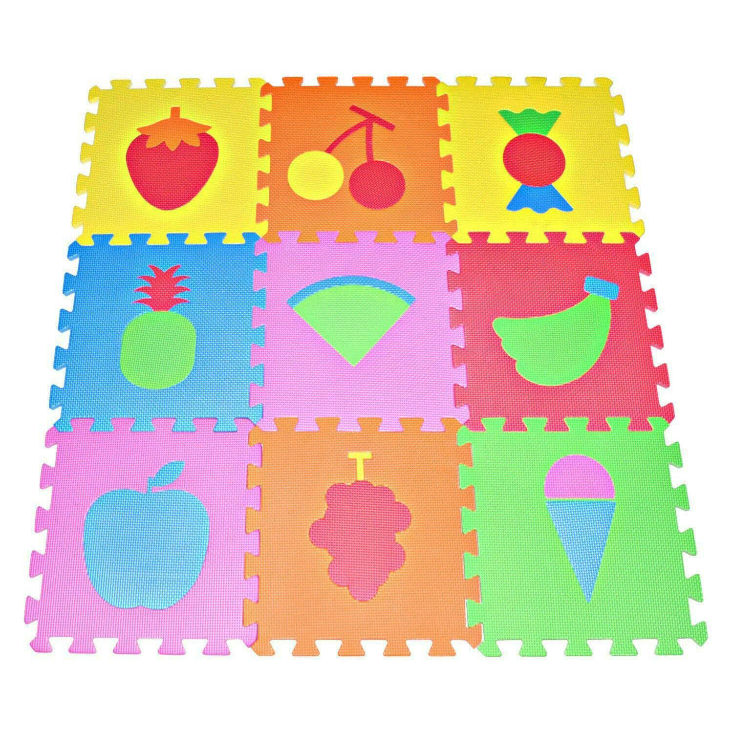 Baby Play Mat Foam Floor Fruits Puzzle 9 Tiles Kids Toddler
