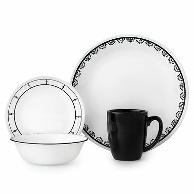 Corelle Livingware Black and White 16-Piece Dinnerware Set (Black And White Dinnerware Sets)
