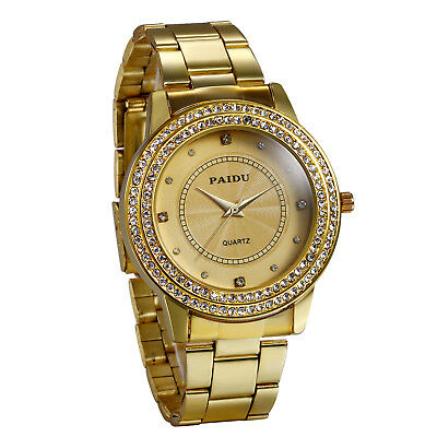 Men's Gold Watch Diamond Dial Fashion Gold Steel Analog Quartz Wrist Watches