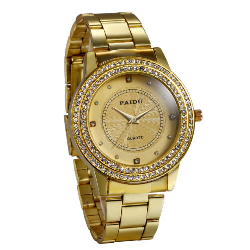 Men's Gold Watch Diamond Dial Fashion Gold Steel Analog Quar