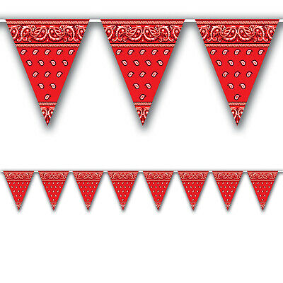 WESTERN Cowboy Farm Party Decoration RED BANDANA Print Pennant FLAG BANNER](Red Bandana Decorations)