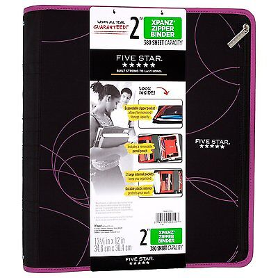 Five Star Xpanz 2 Zipper Binder Berry 380 Sheet Capacity Removable Pencil Pouch