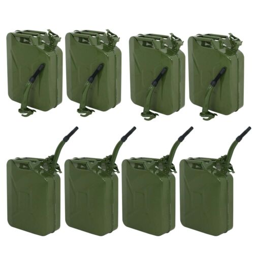 Lot 8 Jerry Can Green 20L 5 Gallon Backup Steel Tank Fuel Gasoline Military Business & Industrial