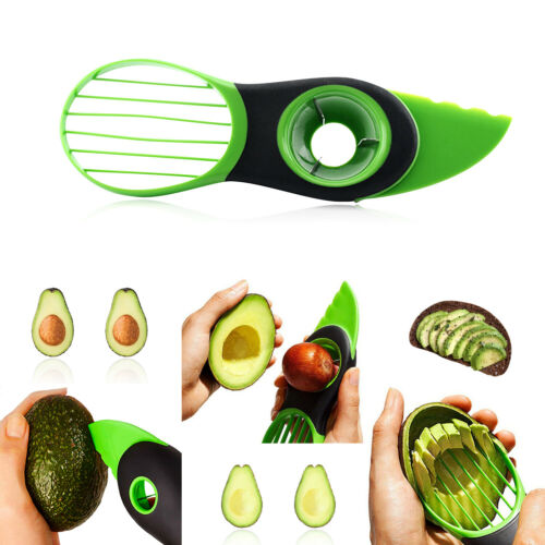 3 in 1 Avocado Cutter Tool Slicer Peeler Scoop Slices Green