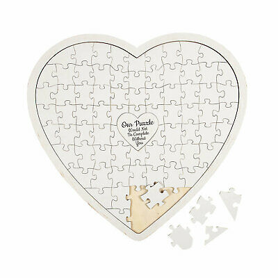 Heart-Shaped Puzzle Guest Book - Home Decor - 1 Piece