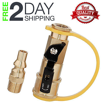 Propane Quick Connect Adapter Kit Gas Hose Shutoff Valve Full Flow Plug -