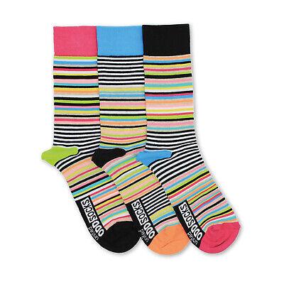 Socken Neon-Streifen Oddsocks in 39-46 Strümpfe bunt lustig Männer im 3er Set