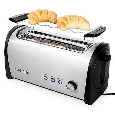 Langschlitz Toaster Toastautomat 4 Scheiben Brötchenaufsatz Edelstahl 1400W