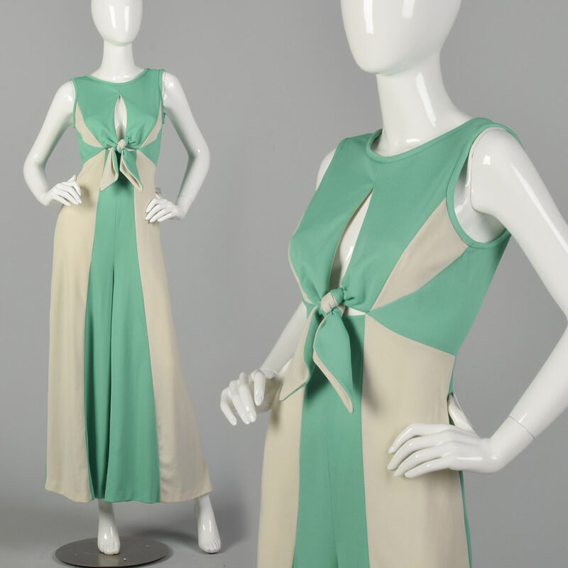 Small 1970s Green Jumpsuit Sexy Keyhole Bust Gray Palazzo Leg Color Block VTG