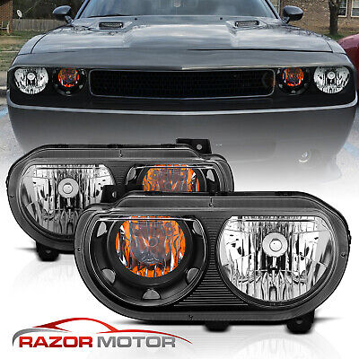For 2008-2014 Dodge Challenger JDM Headlights Lamp Replacement Black Left+Right