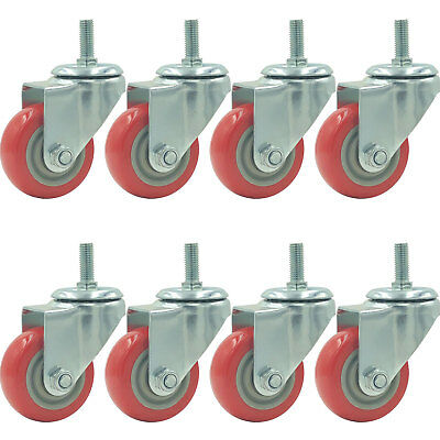 8 Pack 3 Inch Caster Wheels Swivel Plate With Stem On Red Polyurethane Wheels