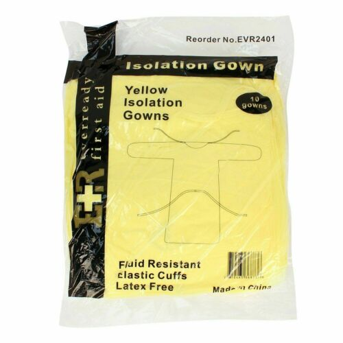 Ever Ready Isolation Gown with Elastic Wrists Yellow - 10CT